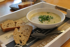 Roasted Garlic, shallot and potato soup (2)