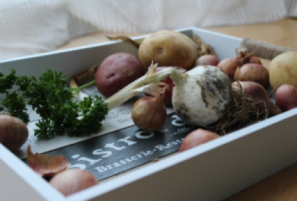 Roasted garlic, shallot and potato soup