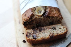 Close up of slice of banana bread