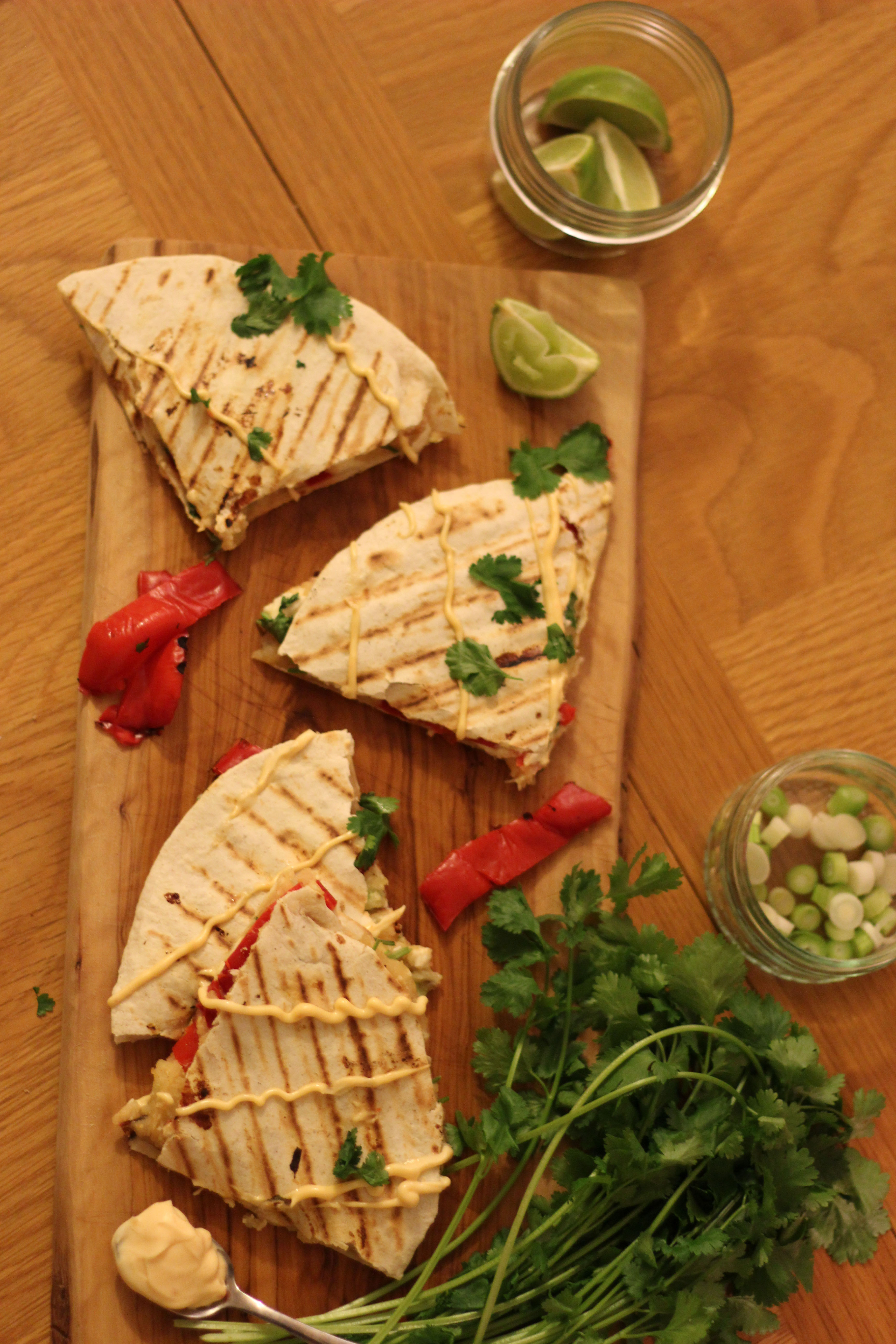 Roasted Red Pepper and Sweet Potato Quesadillas